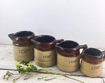 Set Of Four Vintage Stoneware Measuring Cups