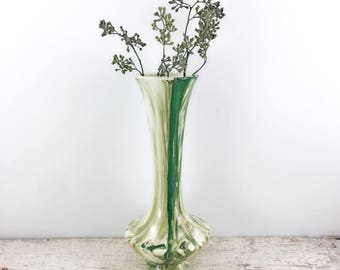 Vintage Green and White Swirl Glass Vase