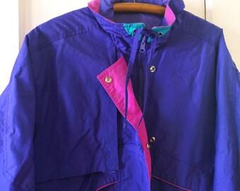 7ca7fbffc 90 s Izzi Purple and Magenta Windbreaker
