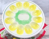 Vintage Ceramic Green and Yellow Egg Plate