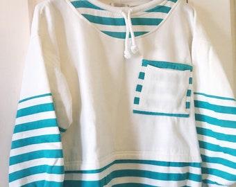cb4e52a10 90 s Boxy Striped Turquoise and White Sweatshirt