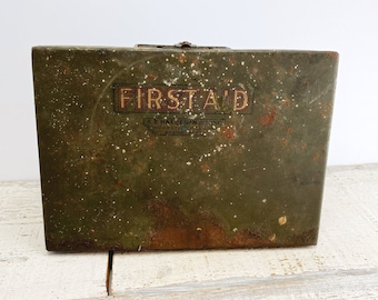 Vintage First Aid Kit - Some Original Supplies Included - Metal Lock Box