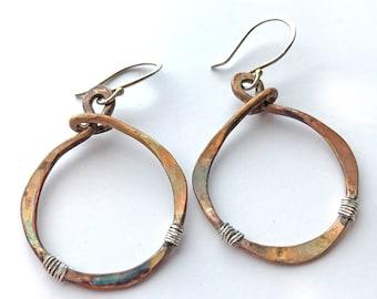 Boho Earrings, Large hoop Earrings, Mixed Metal Earrings, Tribal Earrings, Hammered Hoop Earrings, Tribal Earrings, Gift for Her, Earrings