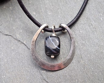 Stone Pendant, Silver Necklace, Boho Necklace, Minimalist Necklace, Sterling Silver Pendant, Handmade Necklace, Sardonyx Gemstone Necklace