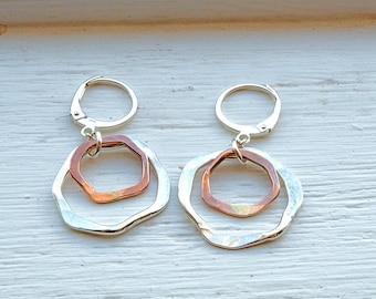 Boho Earrings, Hammered Silver Earrings, Silver and Bronze Earrings, Organic Earrings, Small Dangle Earrings, Bronze Jewelry, Silver Earring
