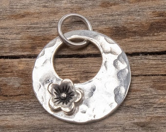 Sterling Silver Flower Pendant, Silver Flower Pendant, Small Pendant, Hammered Silver Pendant, Boho Pendant, Pendant Only