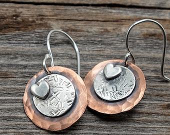 Sterling Silver Heart Earrings,Mixed Metal Earrings, Hammered Copper Earrings, Riveted Jewelry, Copper Earrings Handmade, Disc Earrings
