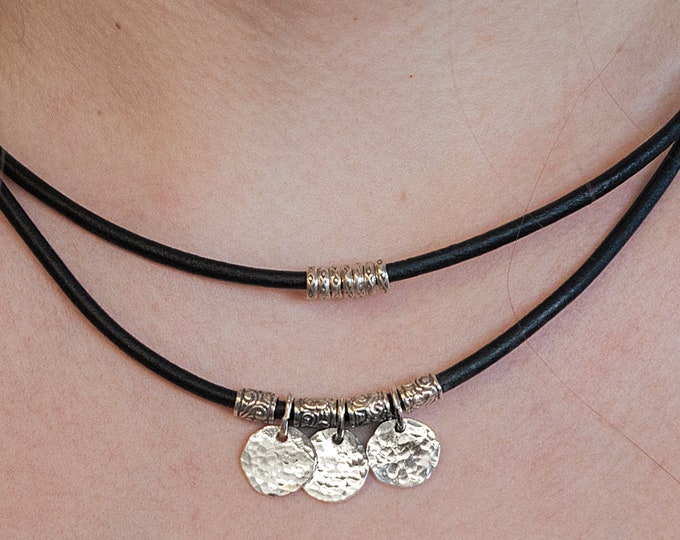Sterling Silver Disc Necklace 2 strand Leather and Silver Genuine Leather Necklace Brown Leather Necklace for her Hill Tribe Silver