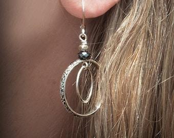 Sterling Silver Double Hoop Earrings, Unique Hoop Earrings, Artisan Earrings, Open Circle Earrings, Patterned Silver Earrings