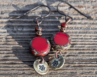 Red Glass Bead Earrings, Hand Stamped Earrings, Stamped Flower Jewelry, Boho Hippie Earrings, Czech Bead Earrings, Bright Color Earrings