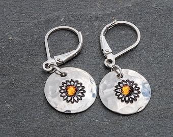 Sunflower Earrings, Flower Earrings, Crystal Flower Earrings, Sunflower Gift, Hand Stamped Jewelry, Sunflower Jewelry, Flower Earrings,