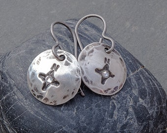Compass Earrings, Silver Compass Earrings, Silver Disc Earrings, Wanderlust Earrings, Dark Silver Earrings, November Birthstone Earrings