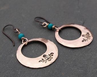 Bronze Hoop Earrings, Boho Earrings, Hand Stamped Earrings, Rose Earrings, Bohemian Earrings, Rose Bud Earrings, Hoop Dangle Earrings