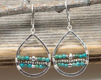 Turquoise Earrings, Turquoise Beaded Hoop Earrings, Bohemian Turquoise Earrings, Argentium Earrings, Teardrop Hoop Earrings