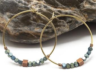 Niobium Hoop Earrings, Niobium Earrings, Hematite Earrings, Beaded Hoop Earrings, Open Hoop Earrings, Metallic Beaded Earrings