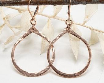 Rose Gold Teardrop Earrings, 14k Rose Gold Filled Earrings, Rose Gold Dangle Earrings, Gold Teardrop Earrings, Rose Gold Hoop Earrings
