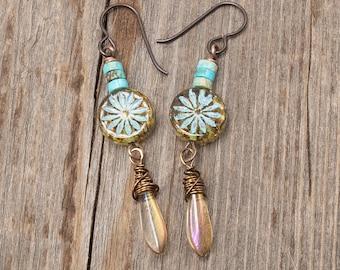Aster Flower Earrings, Flower Earrings, Long Boho Earrings, Boho Summer Earrings, Earrings Under 25, Boho Gypsy Dangle Earrings