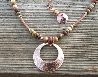 Boho Necklace, Red Creek Jasper Necklace, Fall Necklace, Mixed Metal Necklace, Earthy Necklace, Bronze Pendant