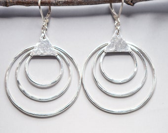 Sterling Silver Geometric Earrings, Sterling Silver Statement Earrings, Concentric Circle Earrings, Geometric Hoops Earrings, Big Earrings