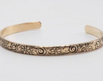 Women's Gold Cuff Bracelet, gold cuff bracelet 14kGF, Gold Boho Bracelet, Gold Filled Cuff Bracelet, 14k GF Bangle Bracelet, Gold Bracelet