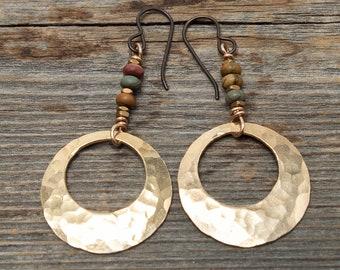 Boho Earrings, Red Creek Jasper Earrings, Bronze Earrings, Earthy Earrings, Hammered Bronze Earrings, Bronze Hoop Earrings, Beaded Earrings