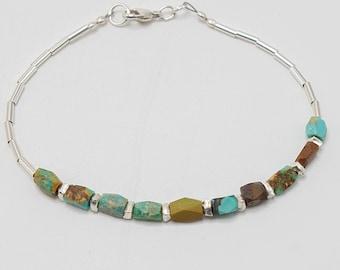 Dainty Turquoise Bracelet, Turquoise Boho Bracelet, Raw Stone Bracelet, Genuine Turquoise, Sterling Silver Beaded Bracelet, Boho ewelry