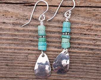 Turquoise Earrings, Sterling Silver and Turquoise Earrings, Silver Teardrop Earrings, Genuine Turquoise Dangle Earrings, Boho Earrings