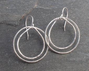 Double Hoop Earrings, Silver Hoop Dangle Earrings, Niobium Ear wires, Argentium Earrings, Teardrop Hoop Earrings, Everyday Silver Earrings