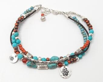 Boho Bracelet, Hill Tribe Bracelet, Bracelet Femme, Multi Strand Bracelet, Genuine Turquoise, Sterling Silver Turquoise Bracelet