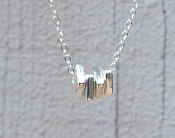 Geometric Necklace, Minimalist Necklace, Square Necklace, Minimalist Necklace, Leather Necklace, Silver Chain Necklace, Beaded Necklace