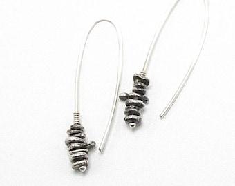 Silver Threader Earrings, Threader Earrings, Pull Through Earring, Silver Beaded Earrings, Silver Arc Earrings, Argentium Earrings