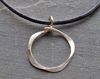 Leather Necklace, Open Circle Necklace, Leather Necklace Woman, Silver Circle Necklace, Brown Cord Necklace, Big Pendant Necklace