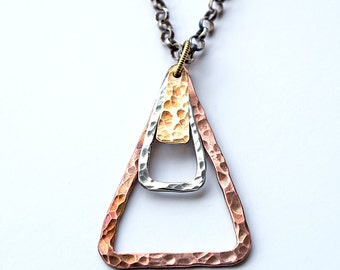 Long Necklace, Mixed Metal Necklace, Layering Necklace, Mixed Metal Pendant, Long Triangle Necklace, Geometric Necklace, Boho Necklace