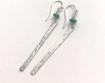 Silver Earrings, Stick Earrings, Silver Dangle Earrings, Long Bar Earrings, Hammered Silver Jewelry, Oxidized Silver Earrings, Gift for Her