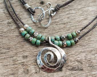 Boho Necklace, Silver Spiral Necklace, Leather Necklace for Her, boho jewelry, Spiral pendant, urquoise leather necklace, Gift For Her