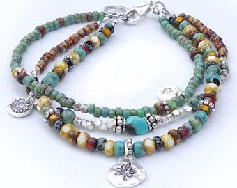Seed Bead Bracelet, Free Shipping, Beaded Boho Bracelet, Boho Bracelet, Turquoise Bracelet, 3 Strand Beaded Bracelet, Seed Bead Bracelet