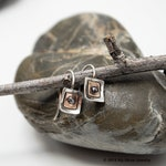 Small Square Earring, Geometric Jewelry, Square Mixed Metal Earrings, Square Dangle Earrings, Riveted Earrings, Modern Earrings