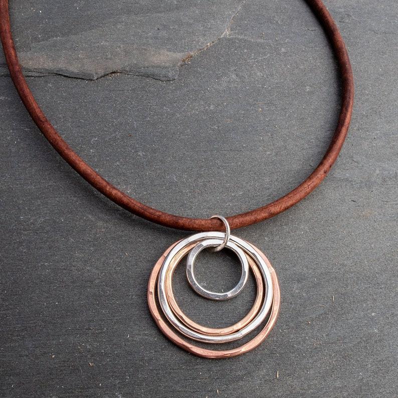 Open Circle Pendant Mixed Metal Necklace Mixed Metal image 0