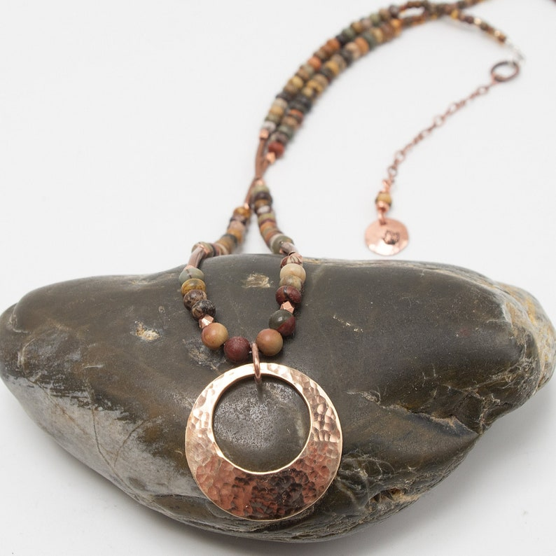 Boho Necklace Red Creek Jasper Necklace Fall Necklace Mixed image 1