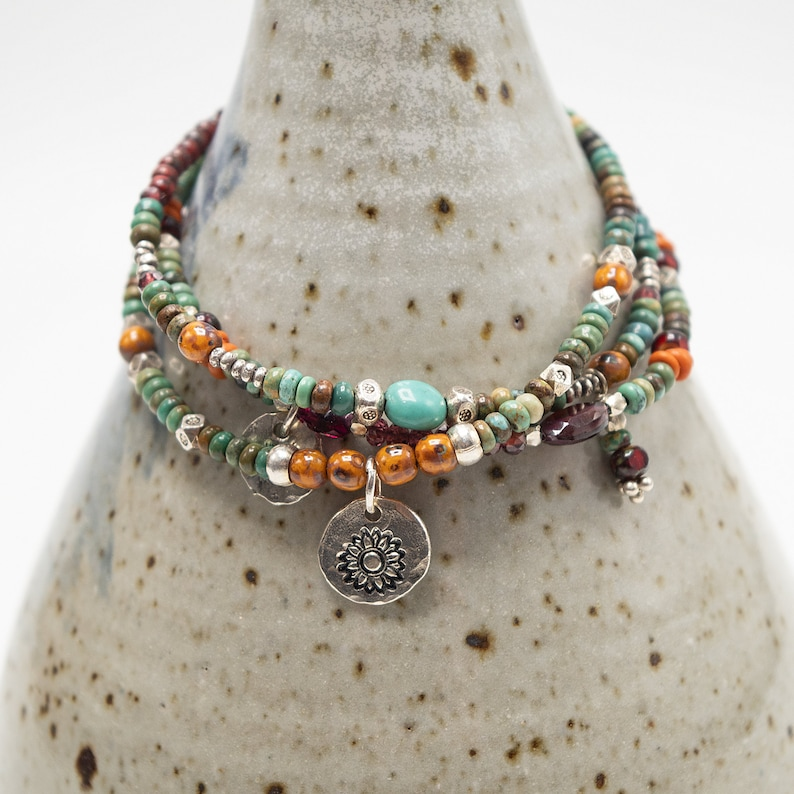 Beaded Bracelets Turquoise Boho Bracelet Seed Bead Bracelet image 0