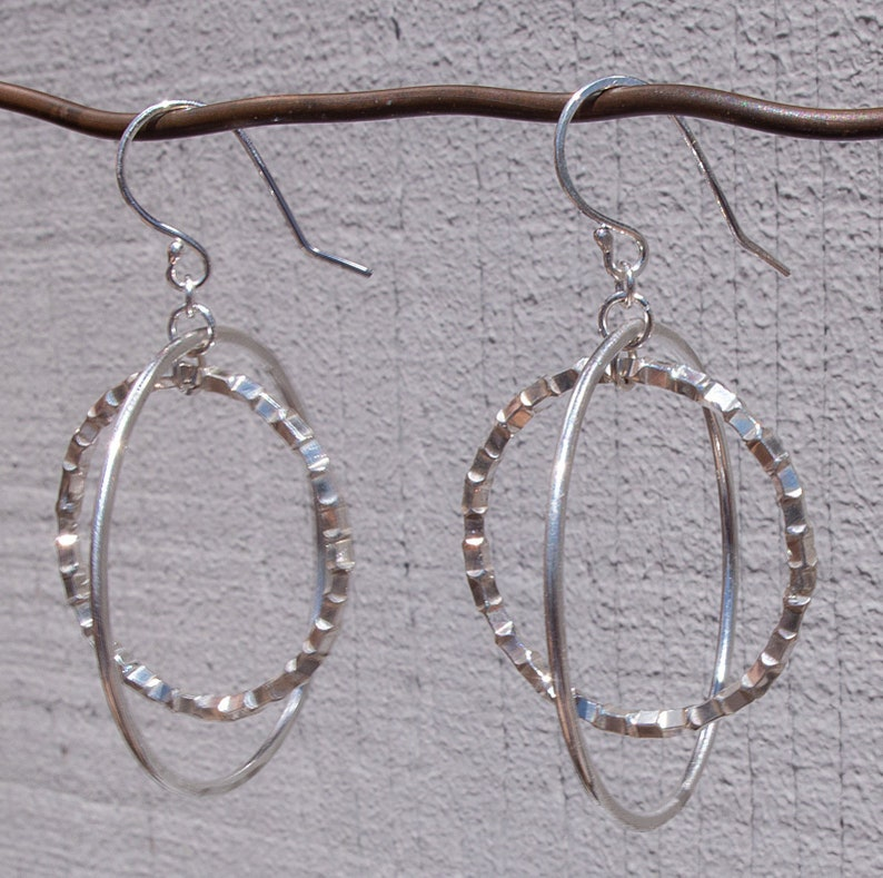 Sterling Silver Double Hoop Earrings Large Dangle Hoop Earrings Open Circle Earrings Unique Hoop Earrings Silver Hoop Earrings