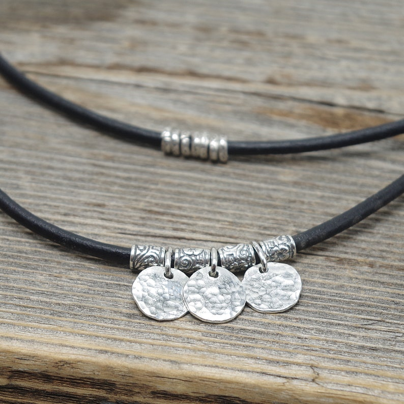 Sterling Silver Disc Necklace Brown Leather Necklace for her image 0