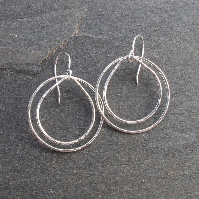 Double Hoop Earrings Silver Hoop Dangle Earrings Niobium Ear image 0