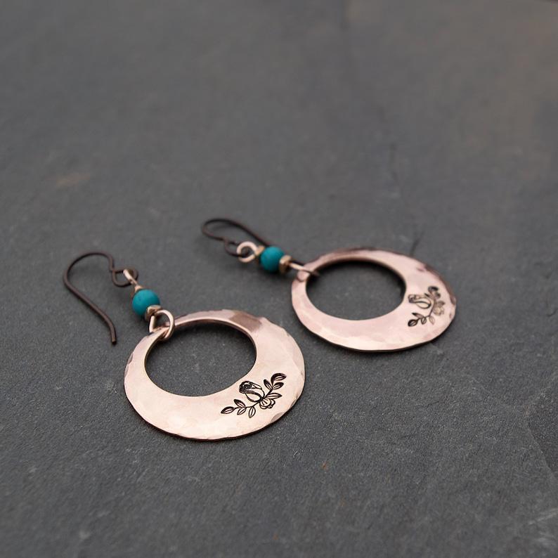 Bronze Hoop Earrings Boho Earrings Hand Stamped Earrings image 1