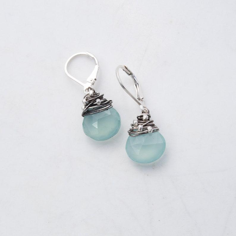 Faceted Gemstone Earrings Aqua Chalcedony Earrings Aqua image 0