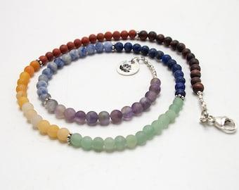 Chakra Necklace Beaded, 7 Chakra Necklace, Yoga Beaded Necklace, Yoga Gift Necklace, Lotus Necklace, Yoga Necklace, Lotus Flower Necklace