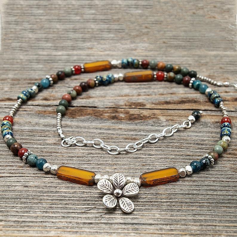 Boho Flower Necklace Czech Bead Necklace Orange Boho image 0