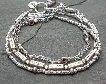 Sterling Silver Bracelet, Silver Bracelet, Leaf Bracelet, Hill Tribe Silver, Multi Strand Sterling Silver Bracelet, Boho Bracelet Set