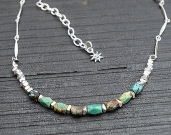Genuine Turquoise Necklace, Raw Stone Necklace, turquoise nugget necklace, Chunky Turquoise Necklace, Turquoise Necklace