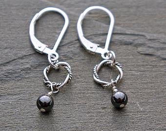 Small Earrings, Dainty Silver Earrings, Small Dangle Earrings, Small Sterling Silver Hematite Earrings, Hematite Earrings, Circle Jewelry